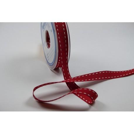 GROS GRAIN PESPUNTE 02 rojo blanco